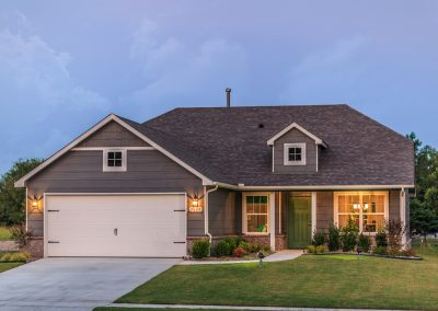 Exterior Twilight 4 Shaw New Homes Tulsa 3809 N. 33rd St. Cambridge In Silver Leaf Broken Arrow, Oklahoma