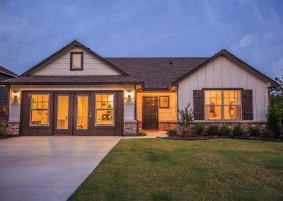 Exterior Twilight 5 Shaw New Homes Tulsa 3805 N. 33rd St. Birkdale In Silver Leaf Broken Arrow, Oklahoma
