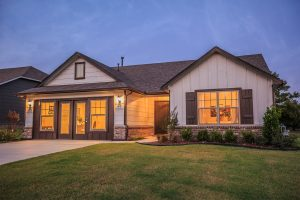 Exterior Twilight 7 Shaw New Homes Tulsa 3805 N. 33rd St. Birkdale In Silver Leaf Broken Arrow, Oklahoma